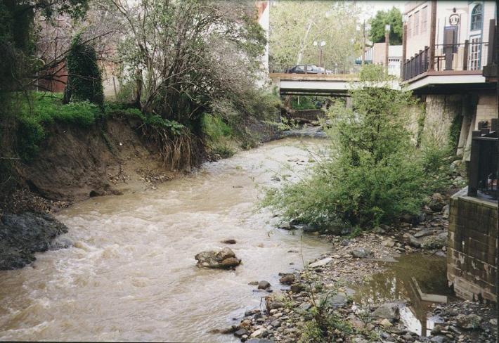 Stream restoration channel bottom rock